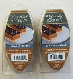2 Yankee Candle SALTED CARAMEL Fragrance Wax 6 Melts NEW!