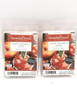 2 SCENTSATIONALS Scented WAX CUBES Melts Caramel Apple Spice