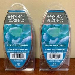 2 turquoise glass wax melts 2 6
