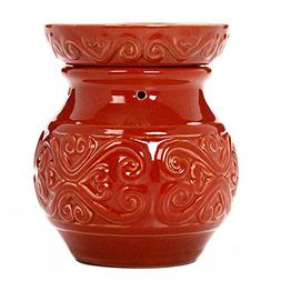 "Hosley 6"" High Red Ceramic Electric Warmer. Ideal Gift for W"