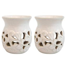 "Hosley's Set of 2 White Ceramic Oil Warmer - 4.3"" High. Use"