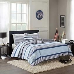 Blue, White & Gray Nautical Stripe Boys Twin Quilt, Sham & T