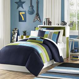 Blue, Khaki & Green Striped Teen Boys Twin Comforter Set, 3