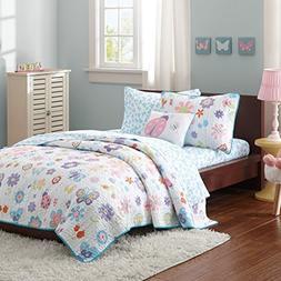 Butterfly & Ladybug Girls Twin Quilt, Sham, Sheets & Toss Pi