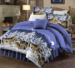 Mountain Cabin Lodge Wolf Wolves King Comforter Set + BONUS