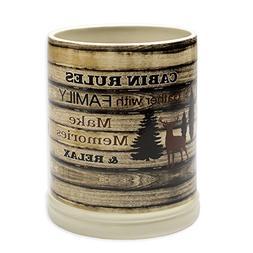 Cabin Rules Rustic Wood Outdoor Design Ceramic Stone Jar War
