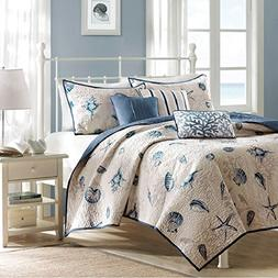 Cape Cod Beach Bedding 6 Piece Coverlet Set in Blue and Tan.