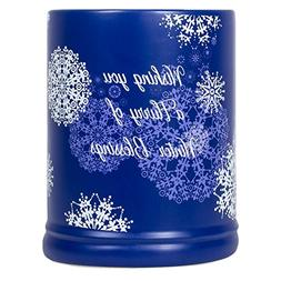 Christmas Candle Warmer Blessings Snowflakes Blue Stoneware