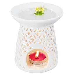 Ivenf Coin Shape Ceramic Tea Light Holder/Wax Melt Warmer, A