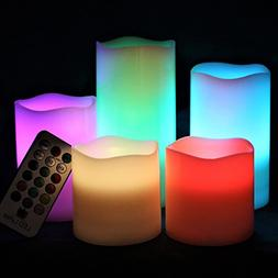 LED Lytes Flameless Candles Multicolor - Large Set of 5 Roun