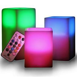 LED Lytes Flameless Candles, SQUARE Multi Color Option Batte