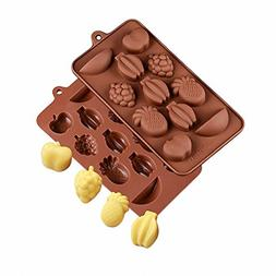 2-Pack Fruit Silicone Molds - MoldFun Apple Grape Pineapple