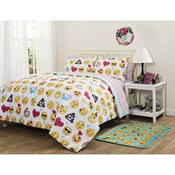 Girls Emoji Colorful Icons Queen Comforter, Sheets & Shams