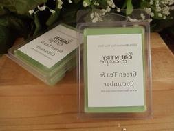 Green Tea & Cucumber Scented Soy Wax Clamshell Melt Tart- Wo