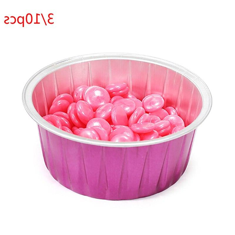 10pcs/3PCS Blue Zoo Hard <font><b>Wax</b></font> 80g Capacity Rose Color Round Foil Bowl