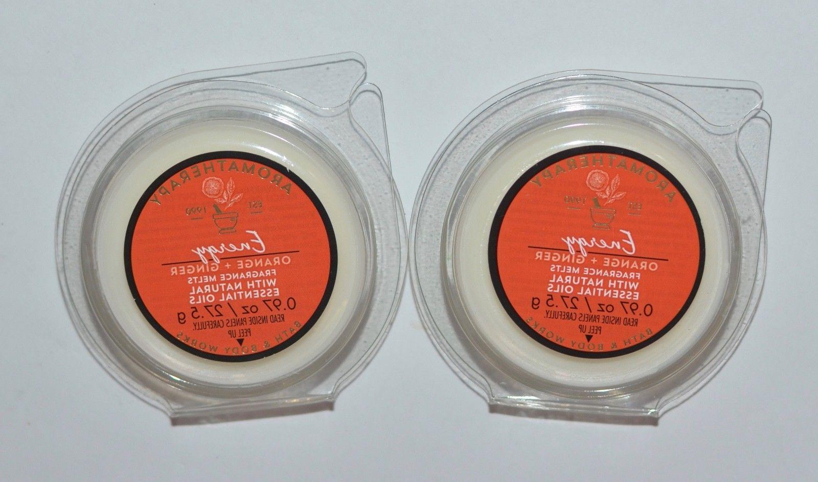 2 BATH & BODY WORKS AROMATHERAPY ENERGY ORANGE GINGER WAX ME