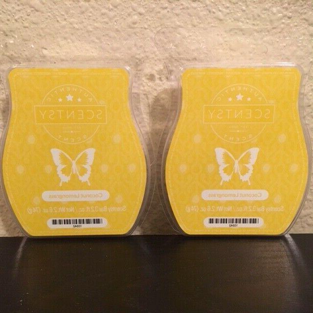 2 pack coconut lemongrass wax bars melts