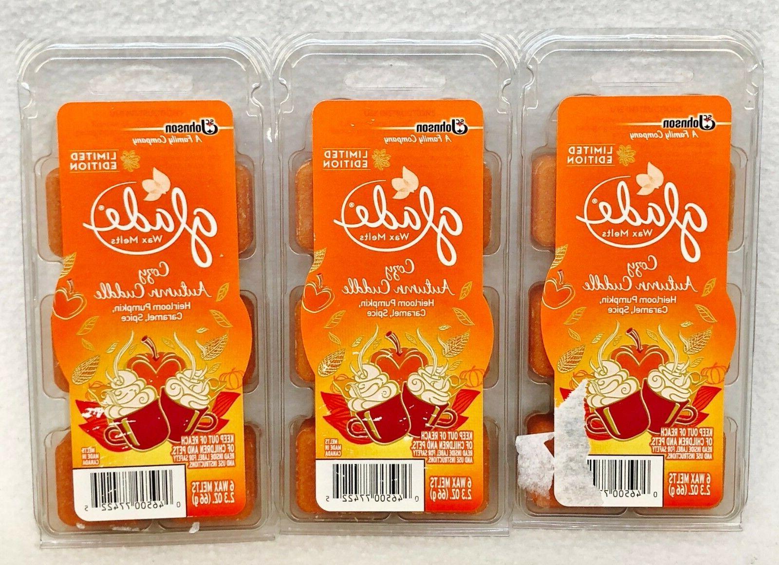 3 PACKS Glade COZY AUTUMN CUDDLE Pumpkin Caramel Spice Wax M