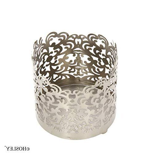 "Hosley 4.5"" High, Jar Tea Lantern. Silver Finish. Ideal Weddings, Spa, Votive Candle"