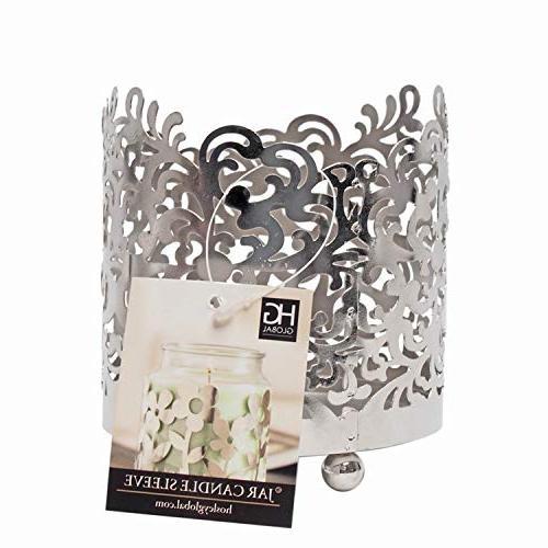 "Hosley 4.5"" Jar Tea Lantern. Silver Finish. Weddings, Votive Candle Garden"