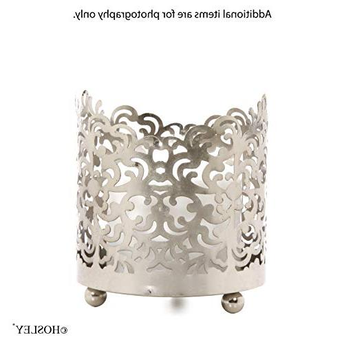 Hosley Jar Candle Sleeve, Tea Light Lantern. Silver Finish. Ideal Gift Weddings, Spa, Votive Garden O9
