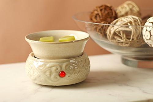 Hosley Ceramic Candle for and Aromatherapy. Use Wax Melts/Cubes, Essential and Oils O2