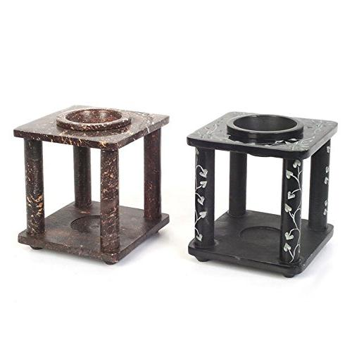 Hosley Hand Carved Black and Brown Soapstone Oil Warmer, Set
