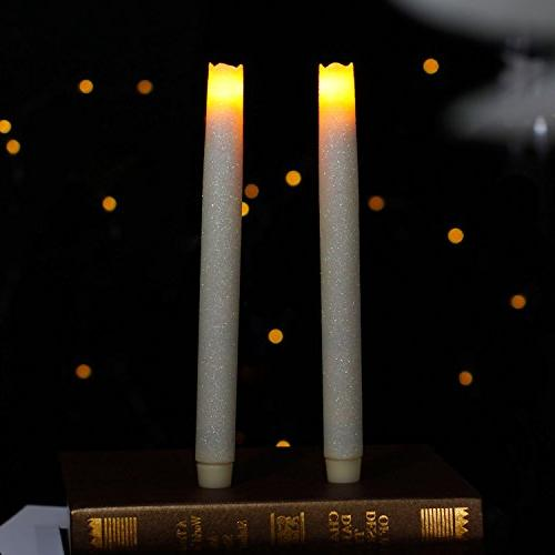 LED Flameless Taper Candle Dripless Real Wax Pillars with Ti