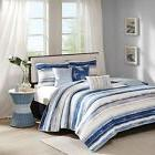 Blue Watercolor Cottage Beach House Coastal 6 Pc King Quilt