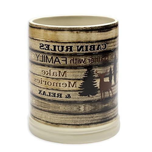 cabin rules rustic wood ceramic