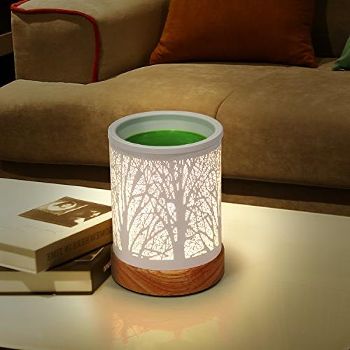 Foromans Melts White Metal Cover Forest Design and Soild Wood Fragrance Candle Home Décor