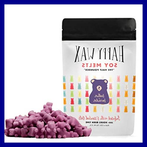 Leather LAVENDER Soy Wax Melts 8 Half Pouch Bear Shapes