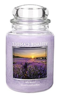 Village Candle Lavender 26 oz Glass Jar Scented Candle, Larg