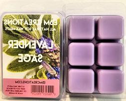 Lavender Sage - Scented All Natural Soy Wax Melts - 6 Cube C