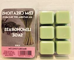 Lemongrass Sage - Scented All Natural Soy Wax Melts - 6 Cube