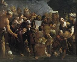 Oil Painting 'Assereto Gioacchino Moises Y El Agua De La Roc