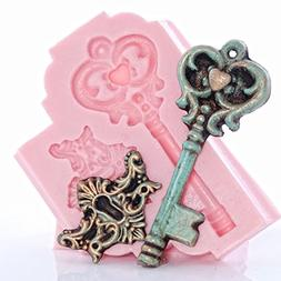 Romantic Skeleton Key Silicone Mold, Food Safe Wedding Cake
