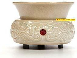 Hosley'S Cream Ceramic Electric Fragrance Candle Wax Warmer.