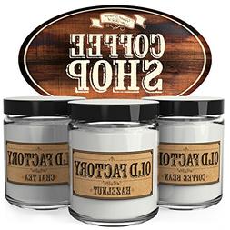 Old Factory Scented Candles - Coffee Shop - Set of 3: Coffee