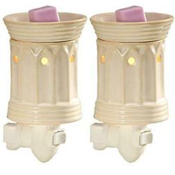 "Hosley Set of Two 5.3"" High Cream Ceramic Electric Wax Warme"