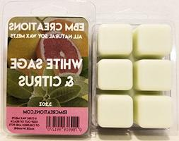 White Sage & Citrus - Scented All Natural Soy Wax Melts - 6